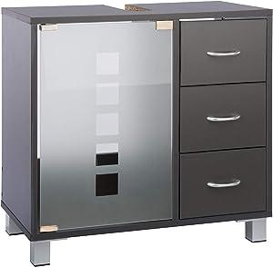 LIMAL - Mobile sottolavabo con 3 cassetti, in Legno Grigio, 30 x 60 x 56 cm, con Anta in Vetro, Pannello Posteriore con Foro per sifone