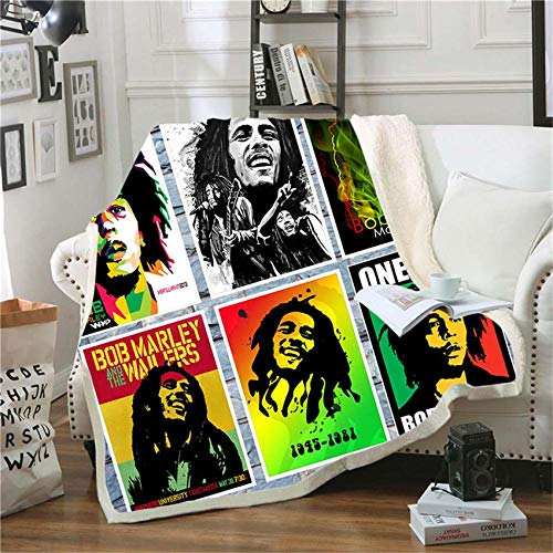 WXhGY Coperte di Flanella Sherpa Bianca 150 x 200 cm Bob Marley, Tutte Le Stagioni Morbida Calda Leggera Reversibili Coperta per Letto e Divano,Facile da Pulire, Ideale Regalo Bambini e Adulti