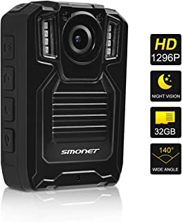 SMONET 1296P Body Camera with Audio, Multifunctional Police Body Cameras for Law Enforcement,Security Guard Body Camera,Waterproof Body Worn Camera with Night Vision,2 Inch Display Video(32GB)