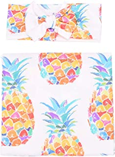 receiving blanket newborn swaddles blush gold pineapple baby girls blanket and headband set baby swaddles pineapples baby girl swaddles