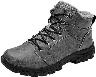 comprar comparacion Botas de Nieve Hombre Impermeable Botas de Nieve Cálido Fur Forro Sneakers Zapatos Invierno Gris 44