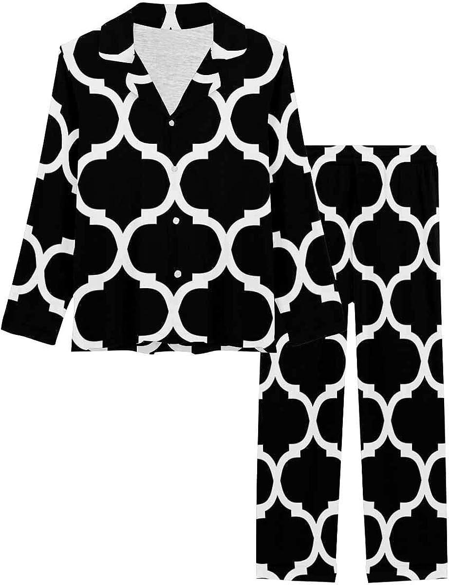 InterestPrint Women's Nightwear Notch Collar Loungewear with Long Pants Ornamental Pattern