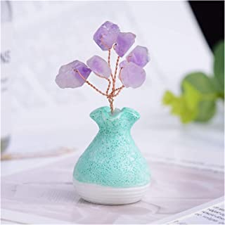 Money Tree Natural Amethyst Lucky Tree Vase Crystal Quartz Gem Tree Mineral Ornaments Tree of Life Home Decoration Hand DI...