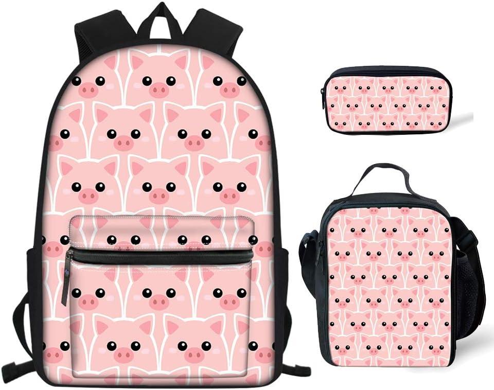 Babrukda Cute Pig Pattern Girls Preschool Insulated 激安超特価 Lun 早割クーポン Bookbags