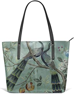 A teal of two birds chinoiserie Leather Tote Large Purse Shoulder Bag Portable Storage HandBags Convenient Shoppers Tote