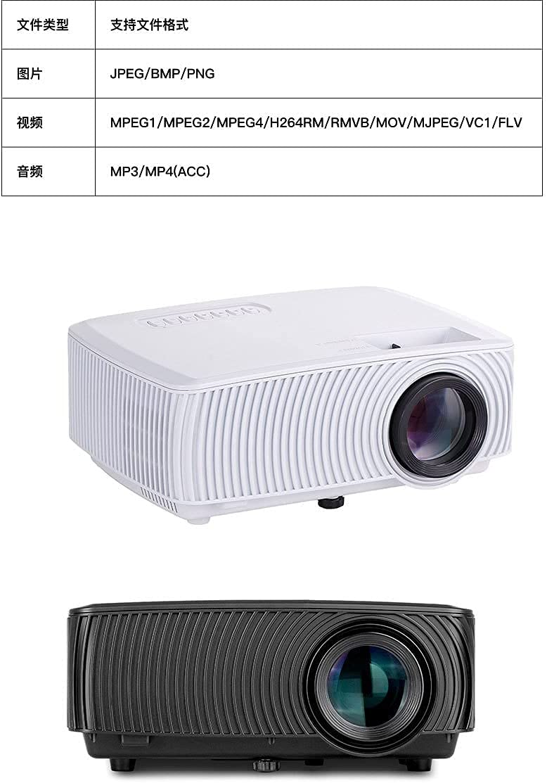 SMYONGPING Mobile Phone with Screen Home Projector LED Micro Projector HD 1080P Black Phone with Screen Version Smart Ultra-Clear 4Kvideo Movie Game LED Projector