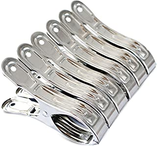 FOMMEN 6 Packs Heavy Duty 4.7 Inches Stainless Steel Clothespin Utensil Clips Clothing Hanger Peg Clamp for Quilt