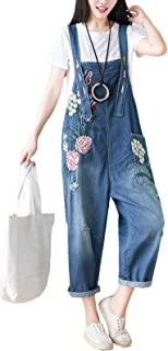 Flygo Women's Loose Baggy Denim Wide Leg Drop Crotch Printed Bib Overalls Jumpsuit Rompers
