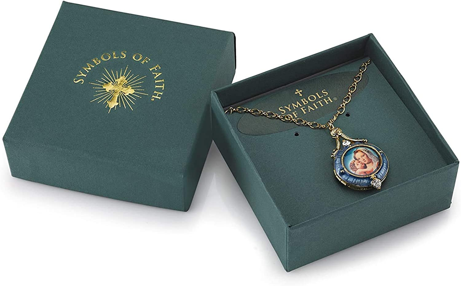 Symbols of Faith 14K Gold Dipped Mary and Child Locket Necklace