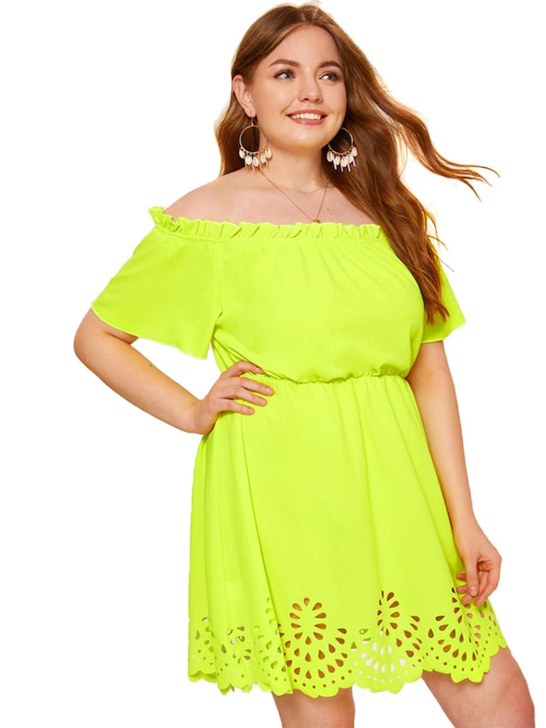 Plus Size Clothing - Women's Plus Size Off The Shoulder Hollowed Out Scallop Hem Party Short Dresses