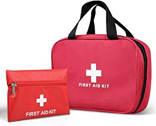 KWANITHINK First Aid Kit Bag Empty, 2pcs First Aid Bag Small Outdoor Travel Rescue Bag Empty Pouch, Compact Survival Medicine Bag Pocket for Injury Emergency Car Home Office Outdoor Sport
