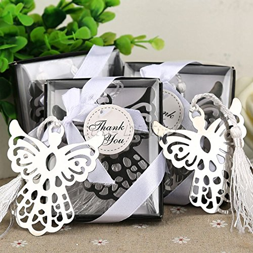 Zytree TM 10pcs Guardian Angel Bookmark w/Tassel Baptism Girl Baby Shower Souvenirs Event Party Supplies Wedding Favors Gifts For Guest