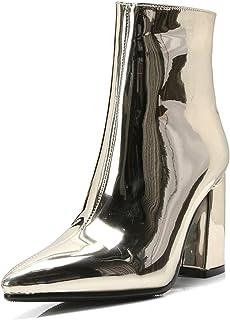 Halfhoge leren laarzen voor dames Spitse neus Dikke hoge hakken Spiegel Metallic pumps Sexy mode enkellaarsjes