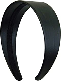 Black 2 Inch Wide Leather Like Headband Solid Hair band for Women and Girls
