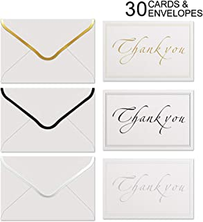 Thank You Cards Set with Self Seal Thick Envelopes, Premium Gold Silver Black Foil Lettering Assorted Greeting Note Cards for All Occasion, Business, Wedding, Bridal Shower, Graduation (30 Pack)