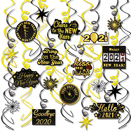 HOWAF 30pcs Happy New Year Ceiling Hanging Swirl 2021 New Year Eve Party Christmas Decorations for New Year DIY Party Decorations