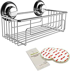 Gecko-Loc 🦎 Trusted Brand Deep Shower Suction Caddy Organizer - Sponge Shampoo Conditioner Shelf Storage Basket - No Drilling No Screws - No Rust Stainless Steel - Adhesive DISKS Include