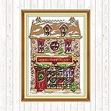 Kit de punto de cruz de casa de muñecas navideñas DIY lienzo hecho a mano DMC11CT 40 * 50cm impreso decoración del hogar