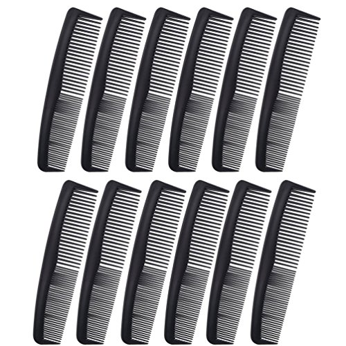 """Favorict (12 Pack) Flexible Thin 5"""" Pocket Hair Comb Beard & Mustache Combs for Men's Hair Beard Mustache and Sideburns (Black)"""