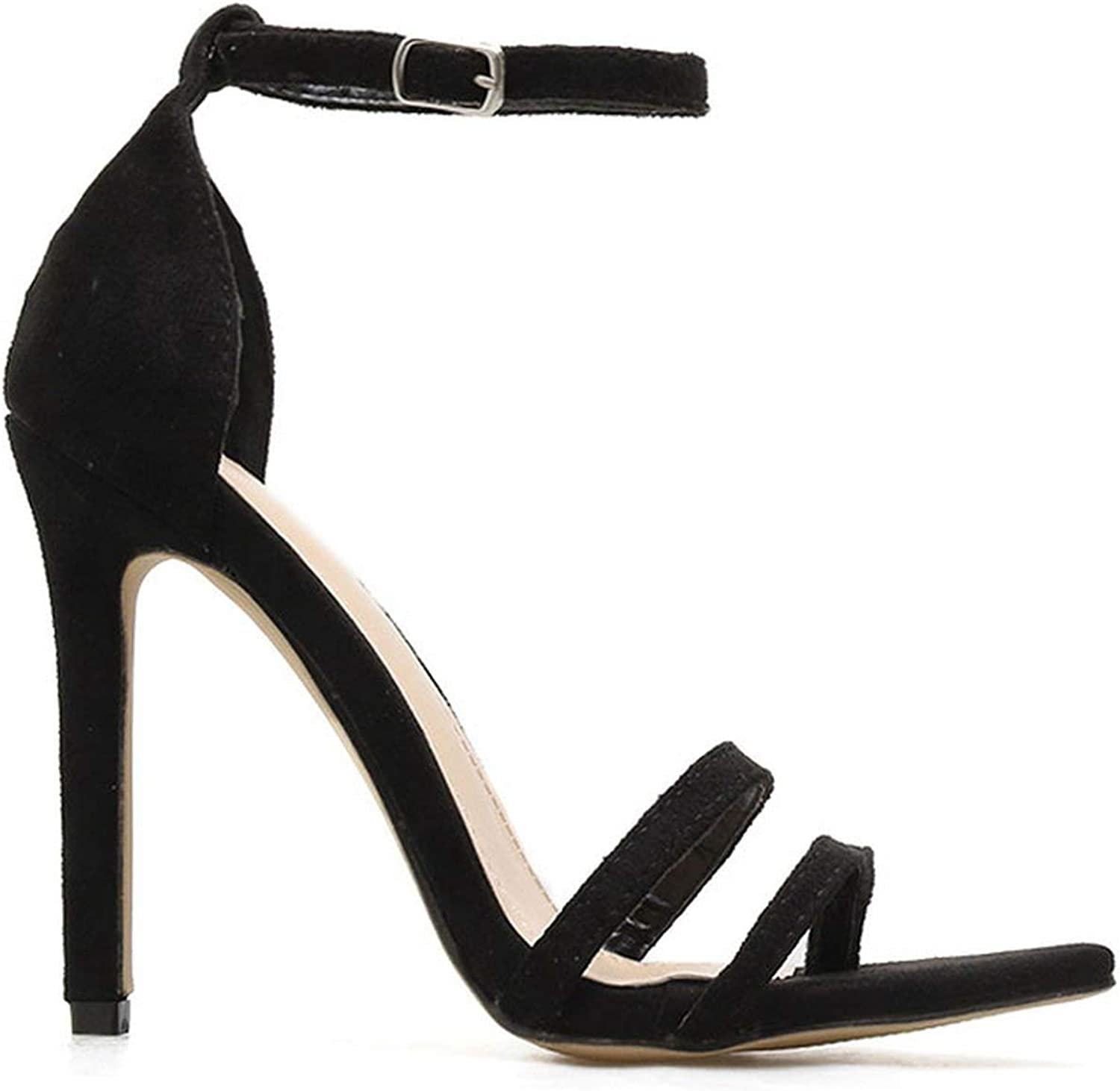 High Heels Sandals Women Gladiator High Heels Summer Sexy Buckle Pointed Toe Party Slip-On shoes 11Cm