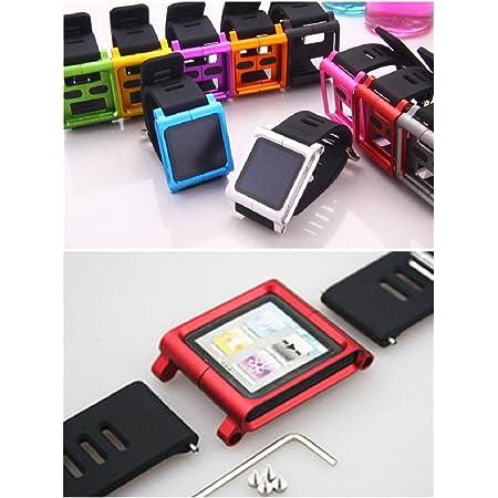 Aiboco Ipod Nano 6 6g Correa De Reloj Con Funda Completa De Aluminio Negro