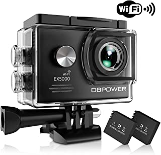 DBPOWERアクションカメラex5000WiFi 1080p HDスポーツカメラ14MP 170度ワイド角度2インチLCDスクリーン2充電式電池16アクセサリーキット ブラック ODBO0775FBA1