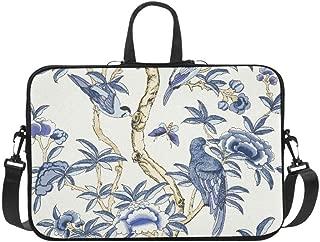 Giselle Blue and White T Collection Imperi Pattern Briefcase Laptop Bag Messenger Shoulder Work Bag Crossbody Handbag for Business Travelling