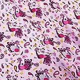 Stoff Meterware Baumwolle rosa pink gelb Pfau Vogel