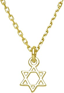 Tiny Gold Plated Jewish Star Necklace for Girls, Teenagers and Adult Women for Judaism Faith and Israel