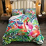 Erosebridal Flamingo Comforter Set Queen Size, Tropical Leaves Room Decor Down Comforter, Palm Tree Pattern Quilted Duvet, Colorful Comforter Set, with 2 Pillow Cases,Super Soft Breathable