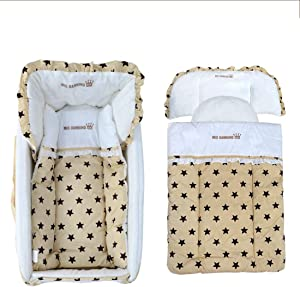 LWKBE Baby Infant Lounger Bassinet Crib Travel Nursery Bed Side Sleeper Cradle Newborn Girl Boy Portable with Pillow Quilt Canopy and Breathable Net