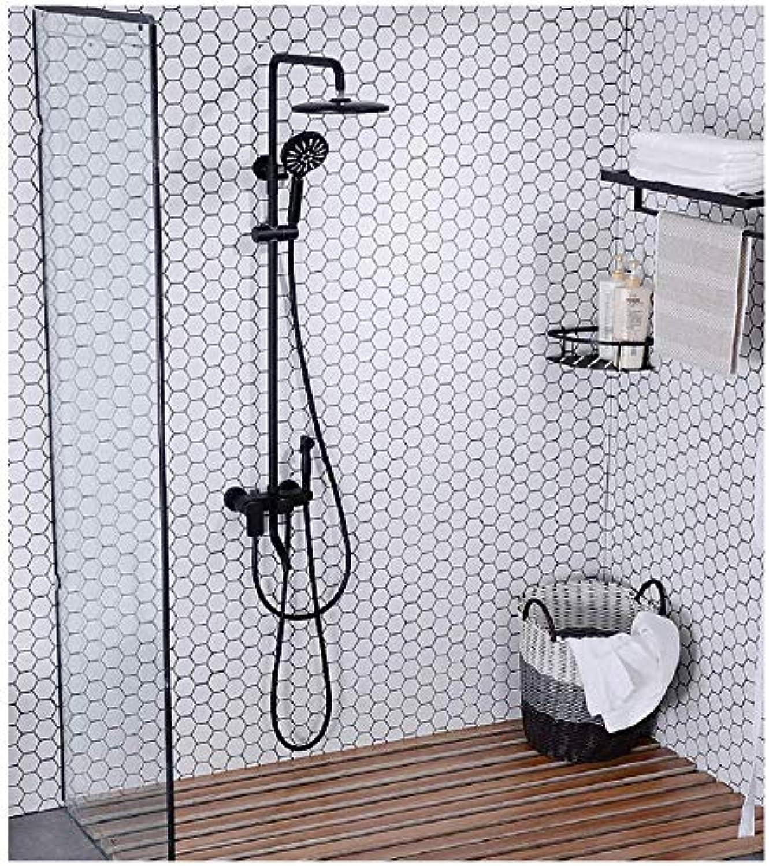 Moderne Design Duschset Duscharmatur Duschsystem mit Regendusche und Duschkopf Handbrause für Badezimmer Kupfer Dusche Damenwaschpistole Schwarz