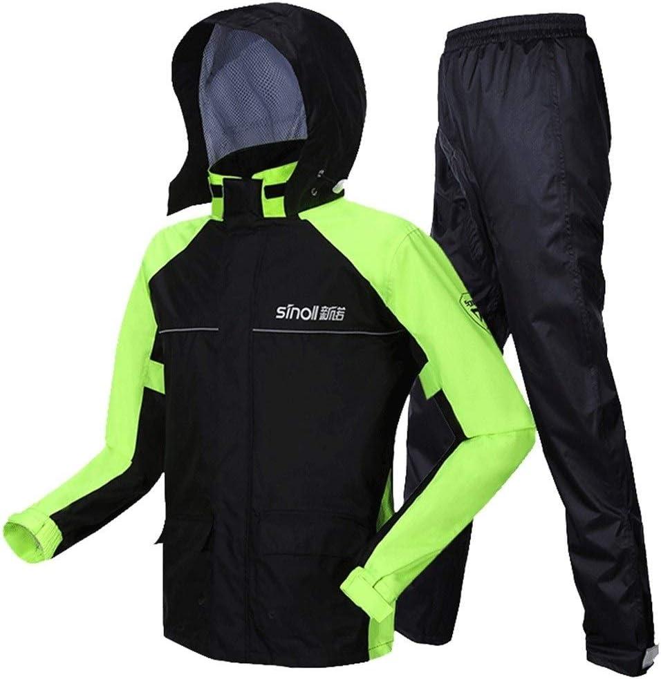 hyy Men's Raincoat   High Visibility Hooded Raincoat   2 Piece Set   Workwear Siamese Jacket & Pants   Waterproof Workwear (Color : Green, Size : Large)