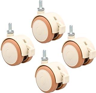 2 inch (50 mm) stille zwenkwielen met rem (4 stuks), bout / M6, M8 | x15 mm, rubberen zwenkwielen, voor babybedden/massief...