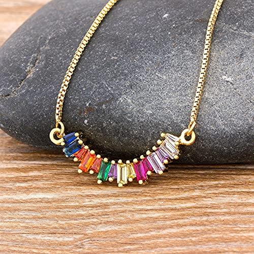 SONGK Collar de Arco Iris CZ, Collar de circonita de Cadena Larga para Mujer, Collar de joyería de Piedra Natural, Colgante de Oro, Regalo para Mujer