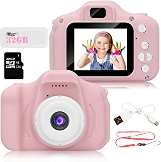 Littley Kids Camera Gifts for Girls,5.0MP Rechargeable Digital Camera Toys for 3-10 Years Old,1080P FHD Digital Video Camera with 2 Inch IPS Screen & 32GB SD Card (Pink)