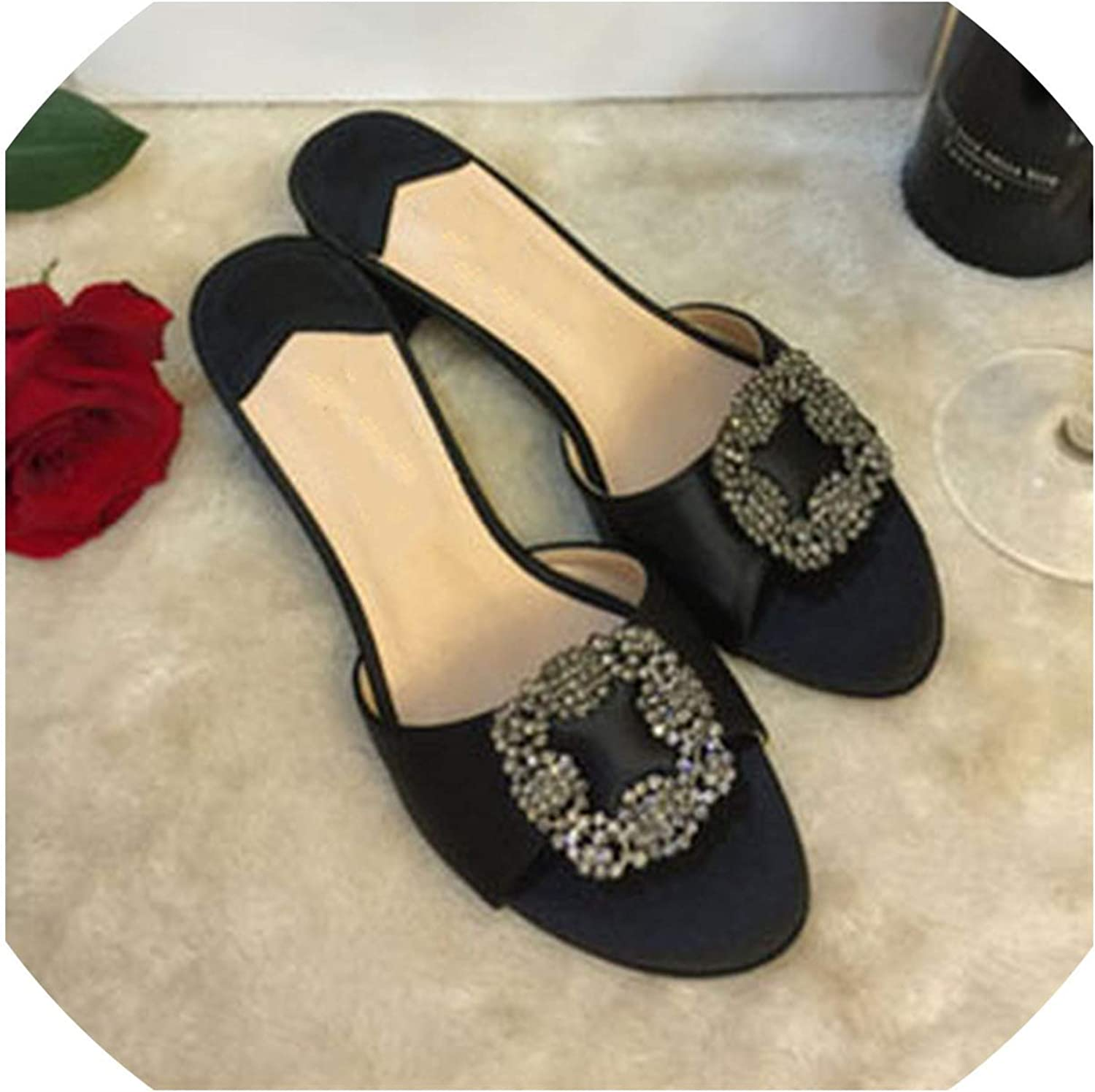 goldsmyth Fashion Women Sandals Summer Crystal Round Toe Ladies Slippers Low Heels Elegant Slides shoes
