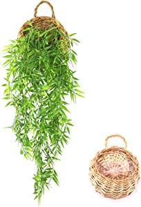 ANZOME Hanging Artificial Plants, 2.7ft Faux Hanging Bamboo Leaves Plant for Decoration Indoor Outdoor Wall Home Room Garden Wedding Garland Decoration(Basket Included)