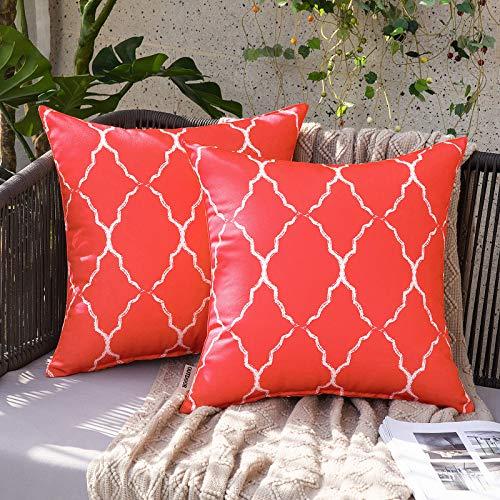 MIULEE 2 x wasserdichte Kissenbezüge mit marokkanischem geometrischem Muster, dekorative Kissenbezüge für Terrasse, Garten, 45,7 x 45,7 cm, rot