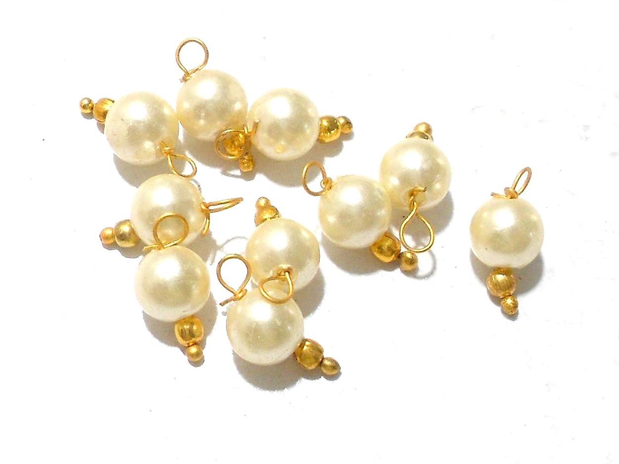 Goelx Pearl Round Designer Hangings for Jewellery Making, Beading & Decorative Art Craft Work - Pack of 50 !! bwvf474263317