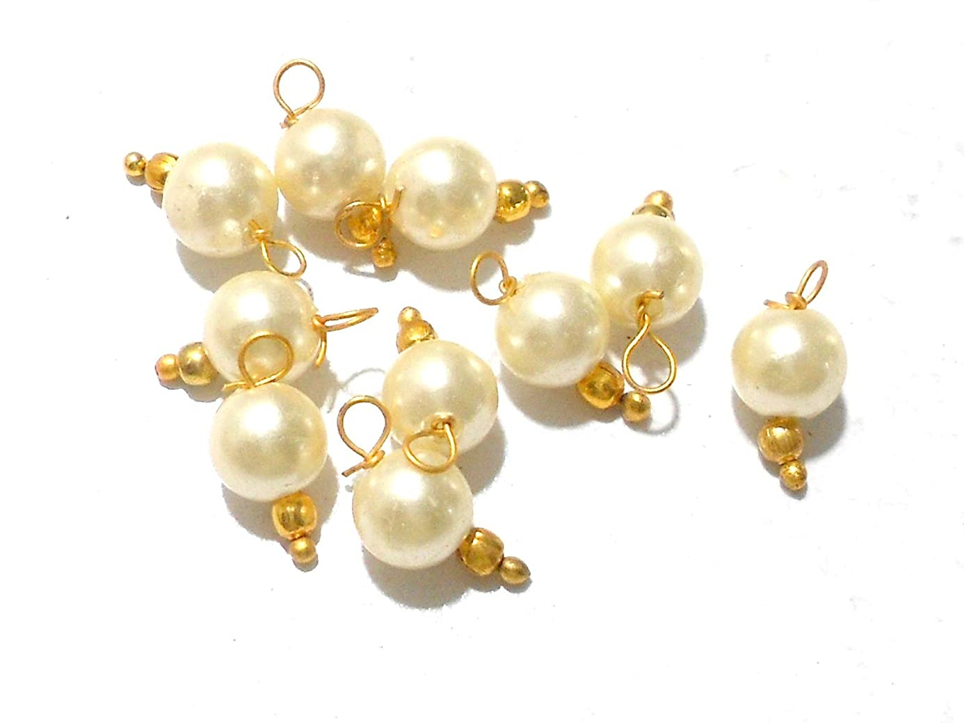 Goelx Pearl Round Designer Hangings for Jewellery Making, Beading & Decorative Art Craft Work - Pack of 50 !! ery3270786