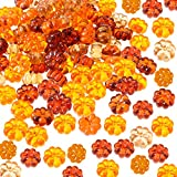 Tatuo 110 Pieces Mini Pumpkins Acrylic Pumpkin Table Scatters for Halloween Thanksgiving Decoration
