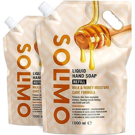 Marca Amazon - Solimo Recambio de jabón líquido para manos. Fórmula cuidado hidratante a la leche y miel-Paquete de 2 (2 Recambios x 1000ml)