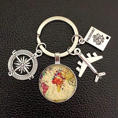 ARTAKA Earth Plane Keychain Pendant Earth Compass Memorial Key Ring Gift for Travel Lovers