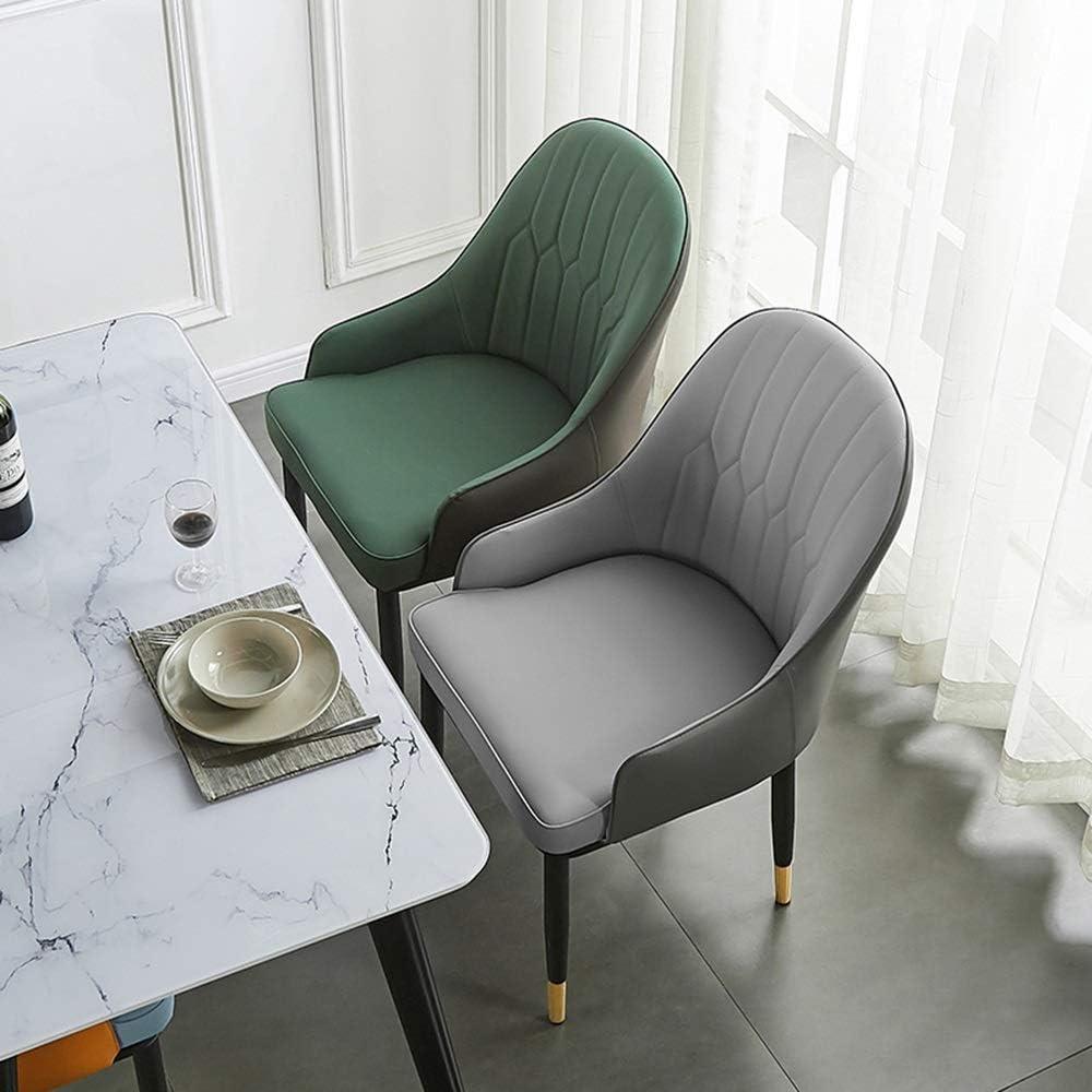 LJFYXZ Chaises Salle Manger Coussin en PU Chaise Longue Dossier Cuisine Salle à Manger Chaises de Salle à Manger Pieds en métal givré Porteur 150kg (Color : Beige) Green