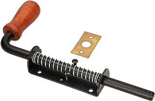 KOTARBAU Veergrendel 260 mm boutgrendel deurgrendel zwart roestvrij houten handvat weerbestendig met vering deurgrendel sc...