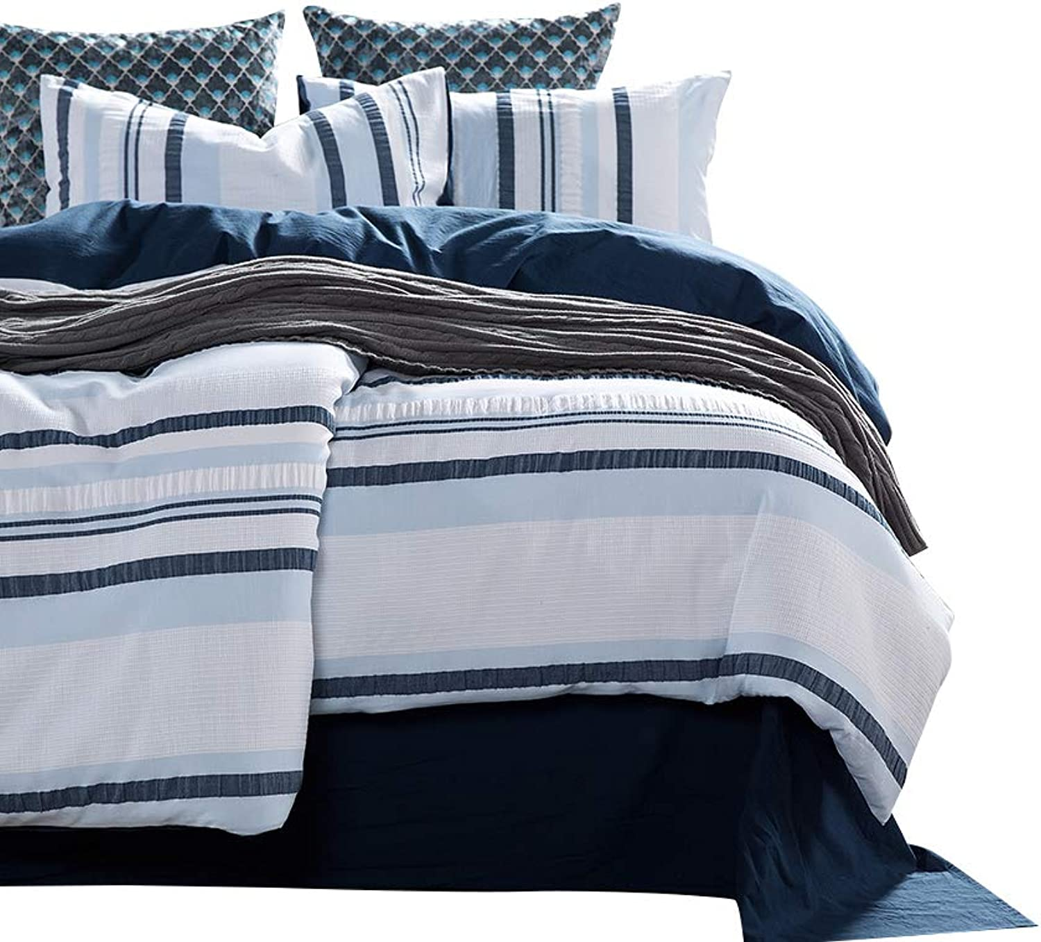 VM VOUGEMARKET 100% Cotton Woven Seersucker Stripe Duvet Cover Set Full Queen 3 Pieces bluee White Duvet Cover with 2 Pillowcases for Adults Men