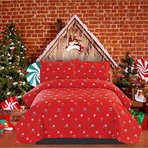 Christmas Quilt Full/Queen Size Christmas Bedspread Coverlet Lightweight Christmas Bedding Santa Print Quilt Reversible Bedspread Christmas Lodge Bedding Snowflake Christmas Quilt Set Red