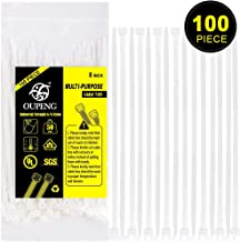 Nylon Zip Ties Heavy Duty- 8 Inch 100 Pieces,50 Pounds Tensile Strength, Ultra Strong Plastic Wire Ties, Multi-Purpose Self Locking Cable Ties.White