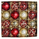 Valery Madelyn Weihnachtskugeln 16 Stücke 8CM Kunststoff Christbaumkugeln Set mit Aufhänger Weihnachtsbaumschmuck für Weihnachten Dekoration Thema Rot und Gold MEHRWEG Verpackung